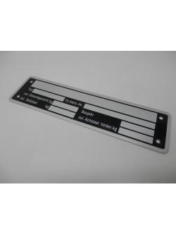 typenschild typeplaat aanhanger aluminium 148 x 38 40050